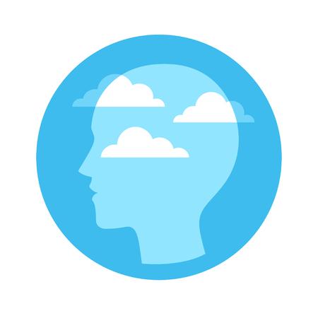 Silhouette de tête avec ciel bleu et nuages. Notion de conscience et de méditation, illustration vectorielle. Vecteurs