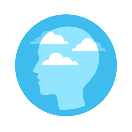 Head silhouette with blue sky and clouds. Mindfulness and meditation concept, vector illustration.