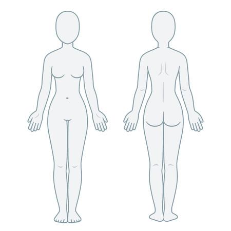 Nackte weibliche Körper Vorder- und Rückansicht. Leere Frau Körper Vorlage für medizinische Infografik. Isolierte Vektorillustration.