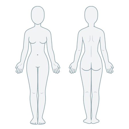 Nude female body front and back view. Blank woman body template for medical infographic. Isolated vector illustration.
