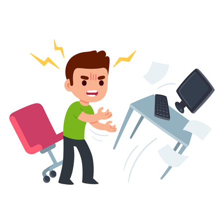 Angry young man at work flipping desk in frustration. Funny flat cartoon vector illustration.