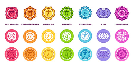 Chakra system icon set in different styles. The seven chakras on colored circles with sanskrit symbols, simple and modern flat vector pictograms. Çizim