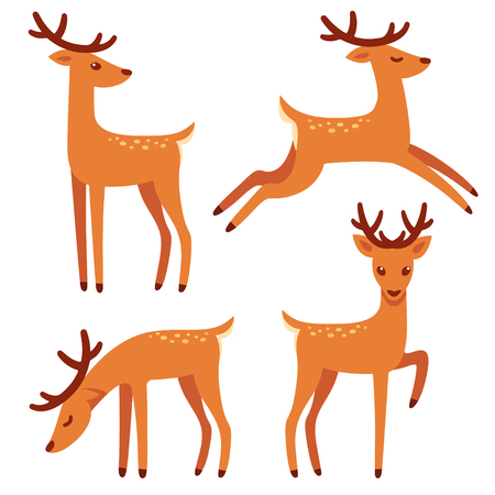 Cute deer with antlers, vector illustration set. Standing, jumping and grazing. Cartoon style drawing. Illustration
