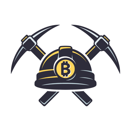 Bitcoin mining logo with hard hat helmet and pickaxe. Cryprocurrency concept vector illustration.