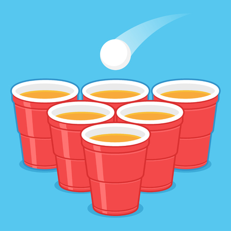 Red Beer Pong plastic cups with ball. Traditional drinking game vector illustration. Vettoriali