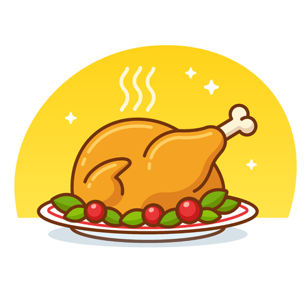 Roast turkey or chicken clip art illustration in flat cartoon vector style. Roasted poultry on plate decorated with lettuce and tomatoes. Ilustração