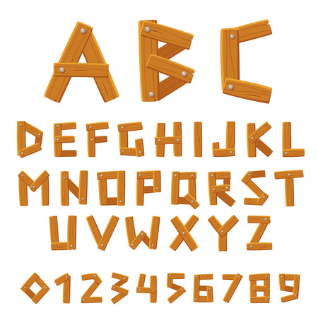 Wooden vector font, alphabet and numbers set. Made of planks of wood and nails. Cartoon style vector letters. Stock Illustratie