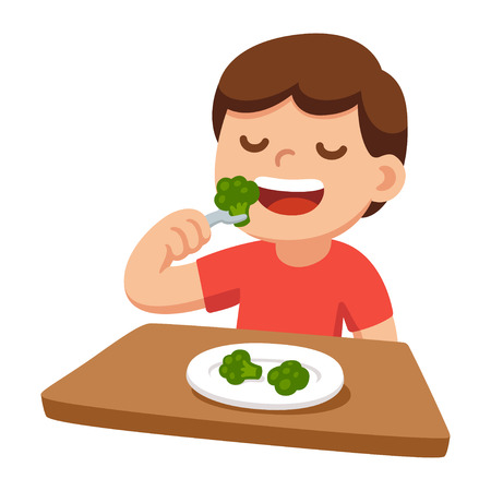 Cute cartoon happy boy eating broccoli. Healthy vegetable food and children, vector illustration.