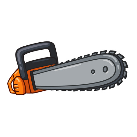Cartoon chainsaw illustration, comic style vector drawing on white background. Illustration