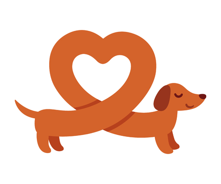 Cute cartoon dachshund with heart shaped body. Funny Wiener dog, St. Valentines day greeting card.