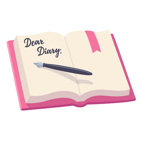 Open notebook with pen and written words, Dear Diary. Journal entry, vector illustration.
