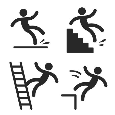 Symbole ostrożności z upadkiem człowieka stick figure. Mokra podłoga, potknięcie się na schodach, upadek z drabiny i przekroczenie krawędzi. Bezpieczeństwo w miejscu pracy i obrażenia.