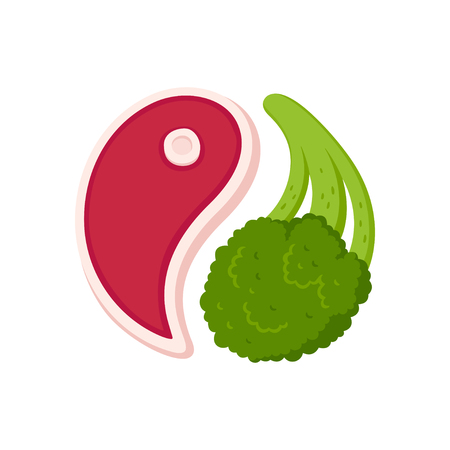 Meat steak and broccoli in yin yang shape, healthy balanced meal, vector illustration.