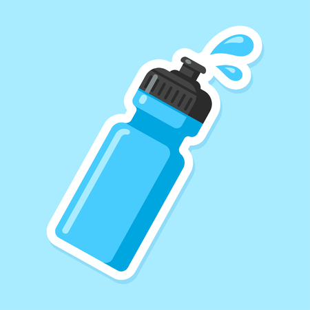 Icono de botella de agua deportiva. Botella de plástico azul en estilo de dibujos animados plana con gotas de agua.