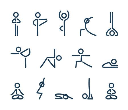 Simple stylized yoga poses icon set. Stick figures in yoga asanas, vector illustration. Stock Illustratie