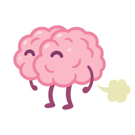 """""""두뇌 방귀"""", 바보 같은 아이디어 만화 그리기. 재미 있은 인간 두뇌 방 귀 벡터 일러스트 레이 션."""