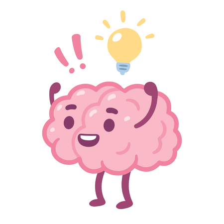Cartoon brain with happy face and lightbulb, creative idea drawing. Cute brain character vector illustration. Çizim