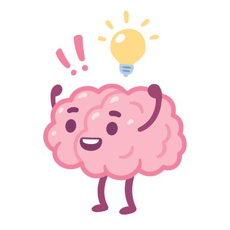 Cartoon brain with happy face and lightbulb, creative idea drawing. Cute brain character vector illustration. Illustration