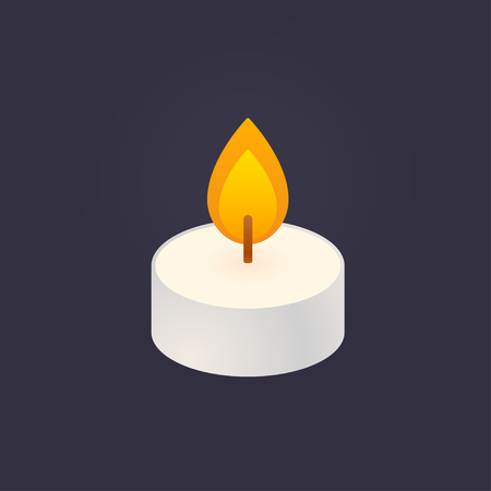 Tea light, floating candle vector illustration on dark background. Simple and minimal cartoon style icon.