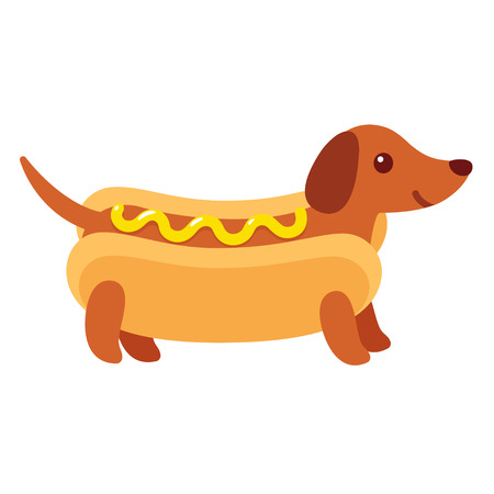 Dachshund puppy in hot dog bun with mustard, funny cartoon drawing. Cute Weiner dog vector illustration. Vettoriali