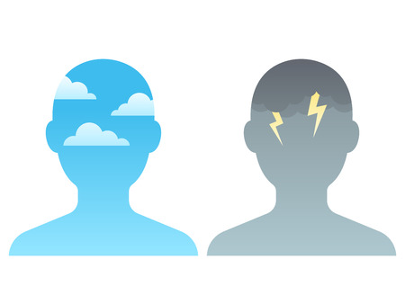 Head silhouette with blue sky and dark storm clouds. Mindfulness and stress management concept, vector illustration.
