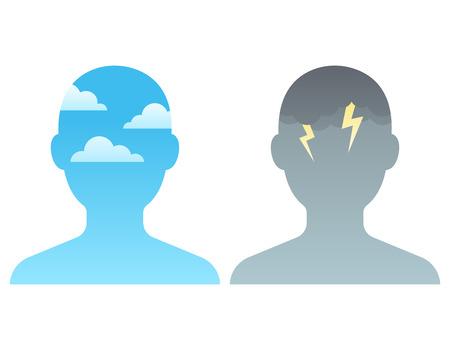 Sylwetka głowy z błękitnym niebem i ciemnymi chmurami burzowymi. Koncepcja zarządzania uważnością i stresem, ilustracji wektorowych.