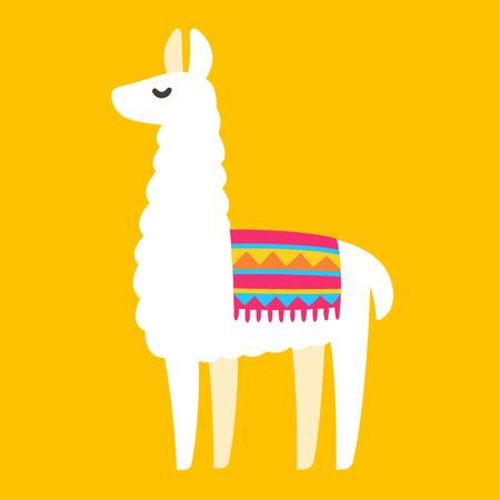 Cute cartoon Llama drawing on bright background, simple vector animal illustration.  イラスト・ベクター素材