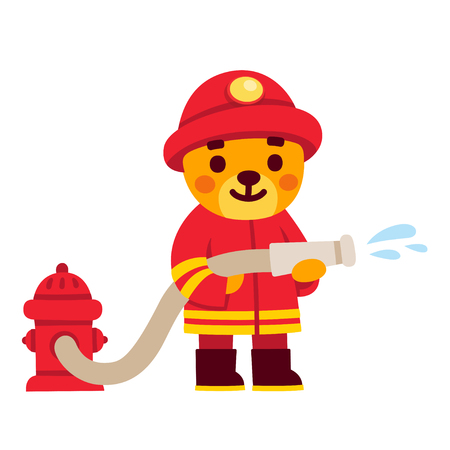 Cute cartoon firefighter character. Teddy bear in fireman uniform with water hose and fire hydrant. Hand drawn illustration.