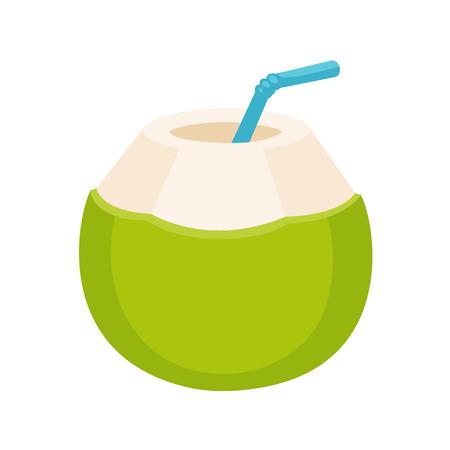 Dessin de boisson à l'eau de coco fraîche. Jeune noix de coco verte à la consommation de paille, illustration de dessin animé isolé. Banque d'images - 92235002