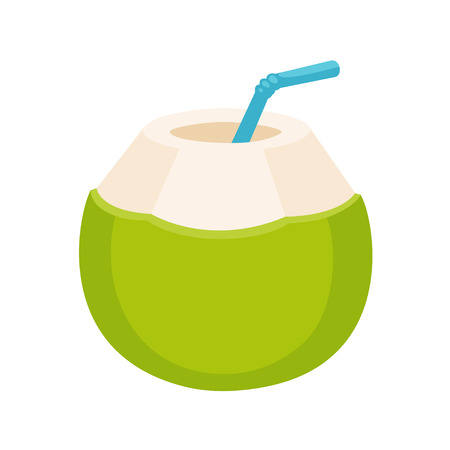 Fresh coconut water drink drawing. Young green coconut with drinking straw, isolated cartoon illustration.