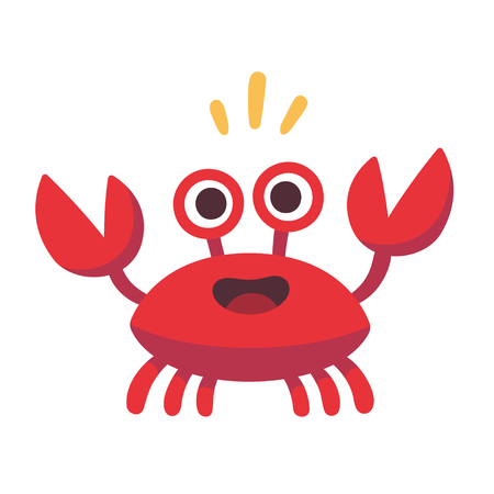 Cute cartoon red crab drawing. Funny smiling crab character illustration. Vettoriali