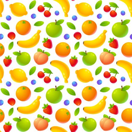 Bright juicy cartoon fruit tileable pattern. Seamless texture, vector illustration.