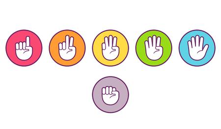 Ícones de mão com contagem de dedos. Botões coloridos com símbolos do gesto, contando dobrando os dedos. Ilustração lisa da arte do grampo do estilo do vetor. Ilustración de vector