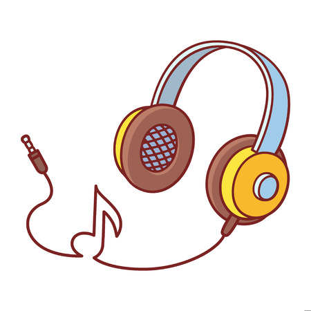 Cool cartoon yellow headphones with cord in music note shape