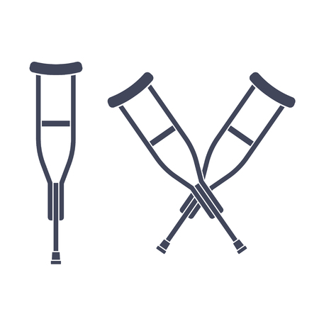 Simple crutch silhouette drawing and two crossed crutches icon. Isolated vector illustration. Vectores