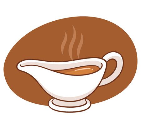 Cartoon gravy boat drawing. Sauce dish with hot gravy, traditional holiday dinner vector illustration. Ilustrace