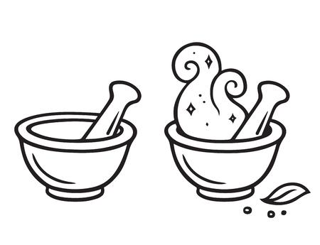 Cartoon mortar and pestle, magic potion making line art drawing illustration. Çizim