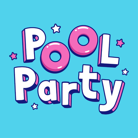 Cool cartoon pool party text lettering with pink pool floats. Summer party invitation or poster  illustration.