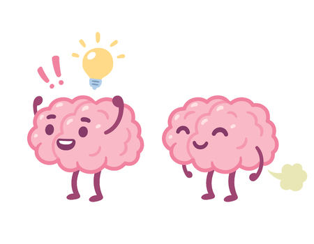 Funny cartoon brain character with happy face and light bulb, and farting. Creative idea and stupid brain fart drawing. Vectores