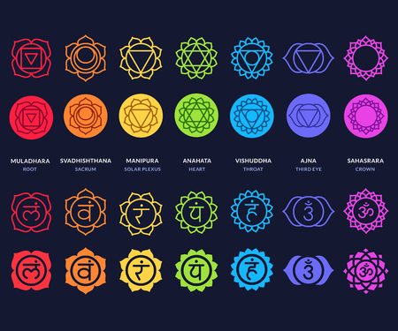 Chakra symbols set on dark background. Different styles, modern simple geometric icons and traditional sanskrit signs vector illustration.