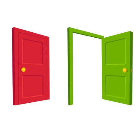 Green open door and red closed door, isolated cartoon vector illustration.
