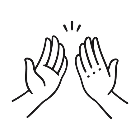 Sep of two hands clapping in high five gesture. Simple cartoon style vector illustration.  Vettoriali
