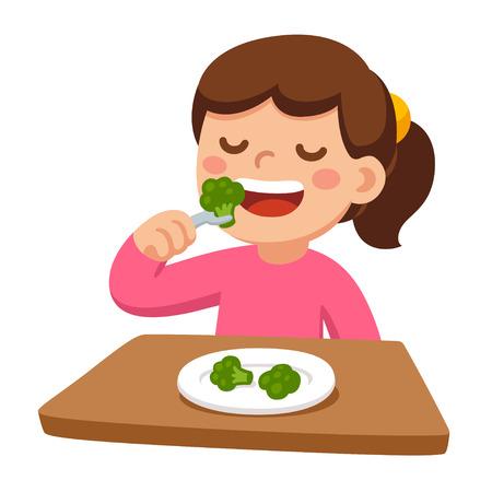 Glückliches Mädchen der netten Karikatur, das Brokkoli isst. Gesundes Gemüselebensmittel und Kindervektorillustration.