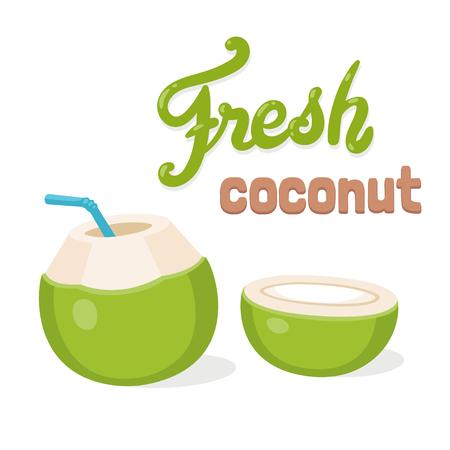 Boisson d'eau de coco fraîche, dessin animé avec lettrage. Jeune noix de coco verte avec paille et coupée en deux. Illustration vectorielle isolé Vecteurs