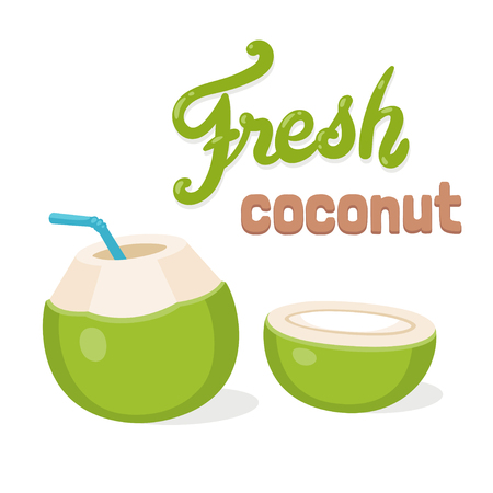 Fresh coconut water drink, cartoon drawing with lettering. Young green coconut with drinking straw and cut in half. Isolated vector illustration. Stock Illustratie