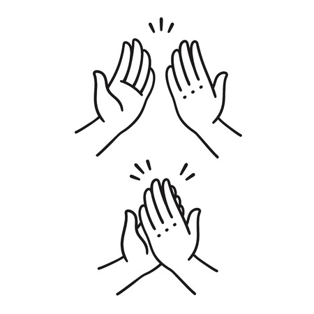 Sep of two hands clapping in high five gesture. Simple cartoon style vector illustration.   イラスト・ベクター素材
