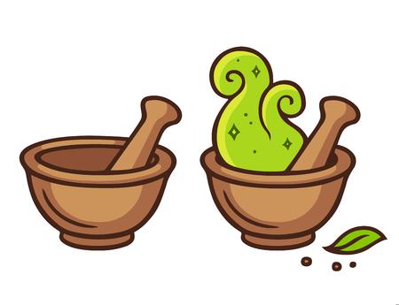 Cartoon mortar and pestle, fantasy potion making with magic. Vector illustration.