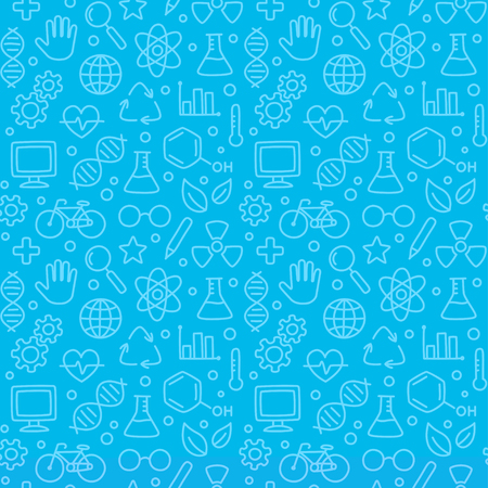 Bright blue hand drawn doodles science pattern. Seamless texture of science symbols, equipment and icons. Vector illustration. Imagens - 93341140