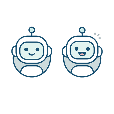 Cute happy robot face avatar. Chat bot vector icon in simple modern flat style. Vettoriali