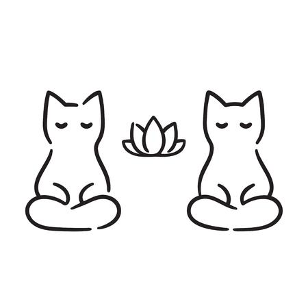 Zen Cats Cartoon Drawing Cute Funny Cats Meditating In Lotus